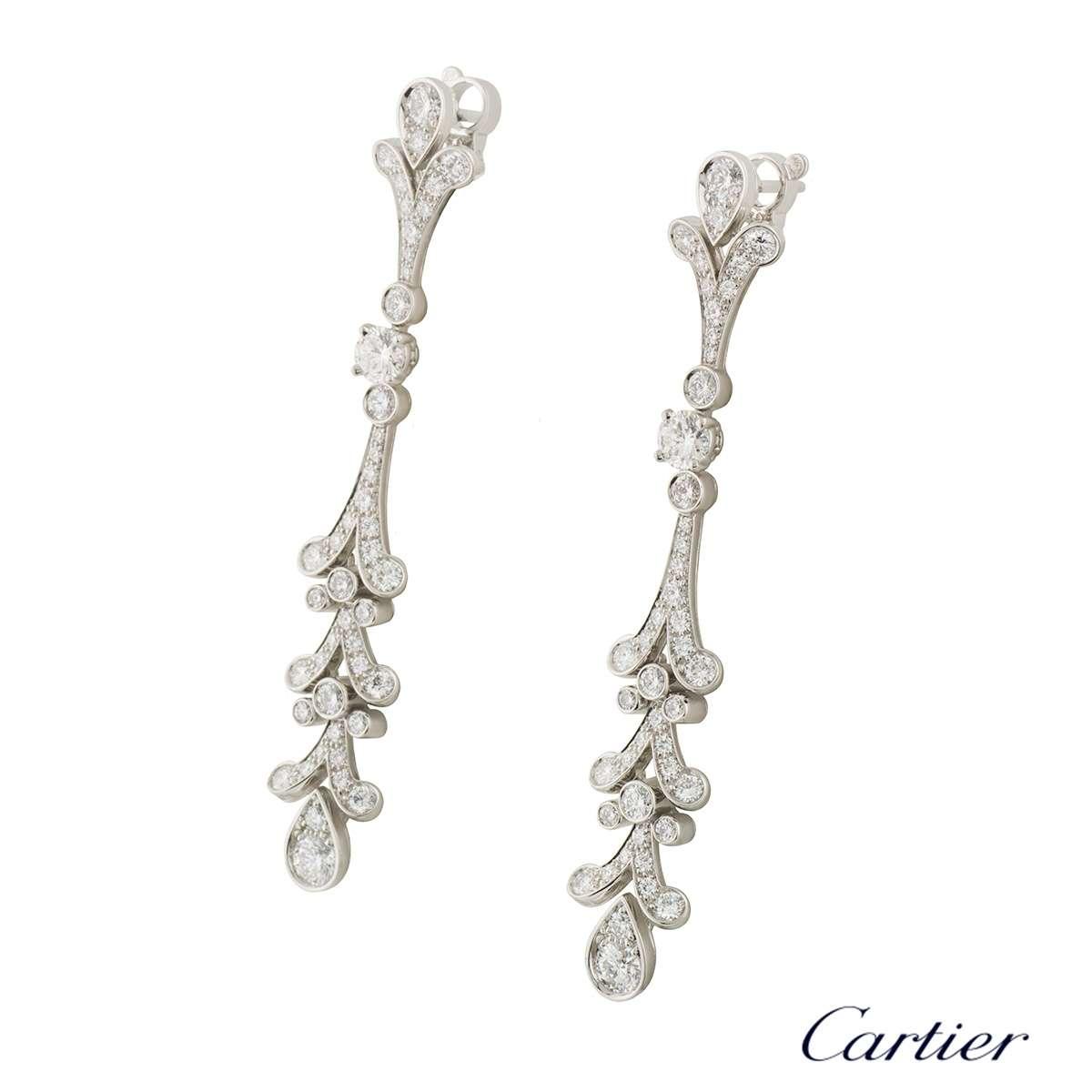 Cartier Platinum Diamond Tulipe Chandelier Earrings